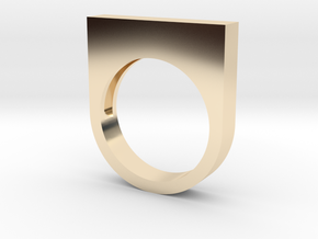 Modern Rectangle Bold Ring in 14k Gold Plated Brass