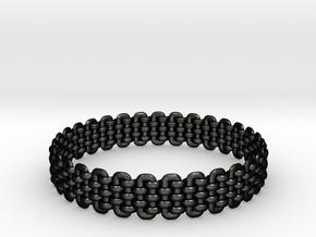 Wicker Pattern Bracelet Size 2 in Matte Black Steel