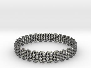 Wicker Pattern Bracelet Size 5 in Fine Detail Polished Silver