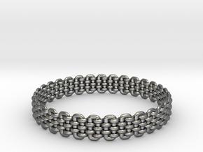 Wicker Pattern Bracelet Size 6 in Fine Detail Polished Silver