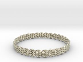 Wicker Pattern Bracelet Size 14 in 14k White Gold