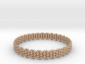 Wicker Pattern Bracelet Size 10 or USA Large Size in 14k Rose Gold