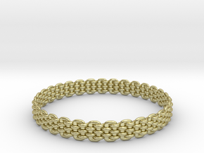 Wicker Pattern Bracelet Size 11 in 18k Gold Plated Brass