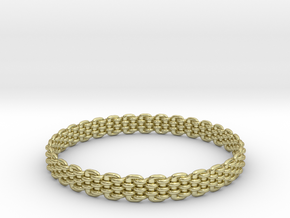 Wicker Pattern Bracelet Size 14 in 18k Gold Plated Brass