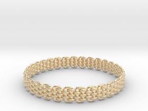 Wicker Pattern Bracelet Size 9 in 14k Gold Plated Brass