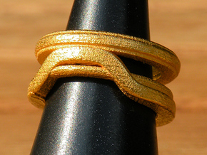 Balem's Ring1 - US-Size 12 (21.49 mm) in Polished Gold Steel