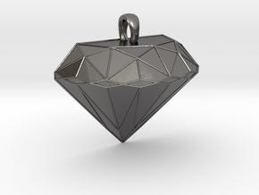 Metal Diamond-Shaped Pendant in Polished Nickel Steel