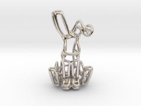 Rabbit (Bunny) Wireframe Keychain  in Rhodium Plated Brass