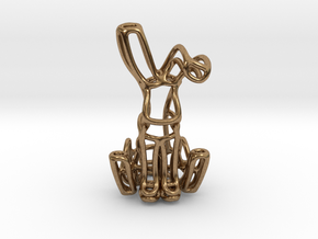 Rabbit (Bunny) Wireframe Keychain  in Natural Brass