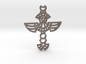 Winged Cross / Cruz Alada in Polished Bronzed Silver Steel