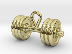 Dumbbell With Hook. in 18k Gold Plated Brass
