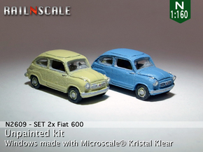 SET 2x Fiat 600 (N 1:160) in Frosted Ultra Detail