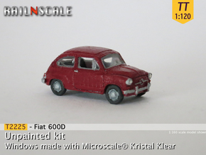 Fiat 600D (TT 1:120) in Smooth Fine Detail Plastic