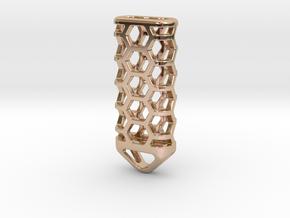 Hex Lantern X3: Tritium (All Materials) in 14k Rose Gold Plated Brass