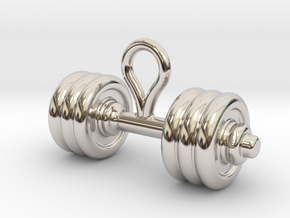Small Dumbbell Earring in Rhodium Plated Brass
