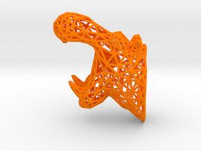 Hippo Trophy Wireframe 100mm in Orange Processed Versatile Plastic