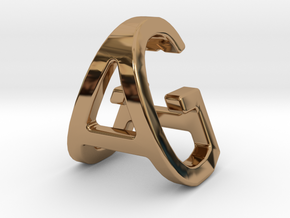 AG GA - Two way letter pendant in Polished Brass