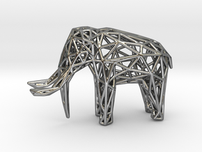 Elephant Wireframe 50mm in Polished Silver