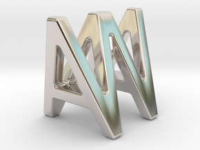 AW WA - Two way letter pendant in Rhodium Plated Brass
