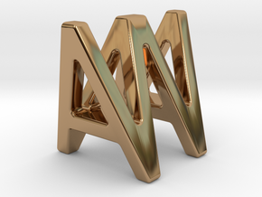 AW WA - Two way letter pendant in Polished Brass