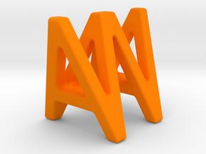 AW WA - Two way letter pendant in Orange Processed Versatile Plastic