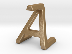AZ ZA - Two way letter pendant in Matte Gold Steel
