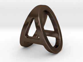 AO OA - Two way letter pendant in Polished Bronze Steel