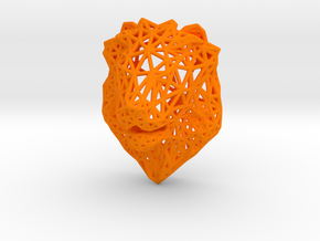 Lion Trophy Wireframe 80mm in Orange Processed Versatile Plastic