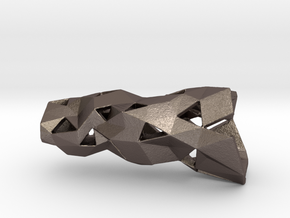 Crystalized Small in Polished Bronzed Silver Steel