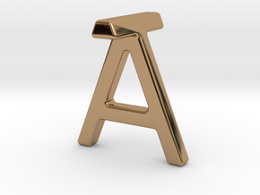 AT TA - Two way letter pendant in Polished Brass