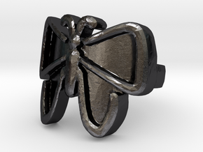 The Unfolding Butterfly Ring Size (US Size 6) in Polished and Bronzed Black Steel