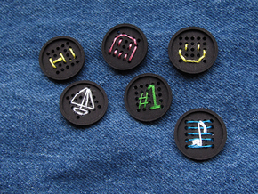 "1"" embroidery buttons (dozen) in Black Natural Versatile Plastic"