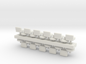 Lunch Stools Squarish HO Scale x11 in White Natural Versatile Plastic
