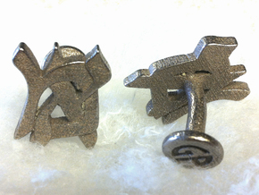"Hebrew Monogram Cufflinks - ""Mem Aleph"" in Polished Bronzed Silver Steel"