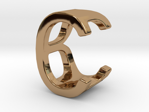 Two way letter pendant - BC CB in Polished Brass