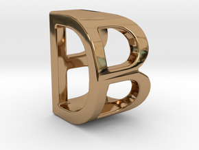 Two way letter pendant - BD DB in Polished Brass