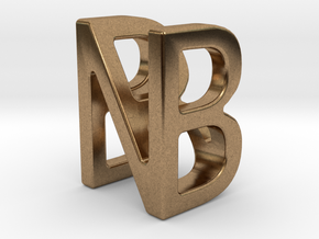 Two way letter pendant - BN NB in Natural Brass