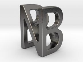 Two way letter pendant - BN NB in Polished Nickel Steel