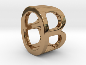 Two way letter pendant - BO OB in Polished Brass
