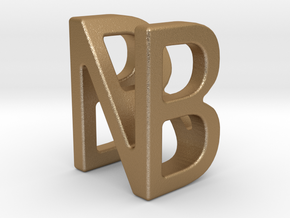 Two way letter pendant - BN NB in Matte Gold Steel