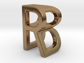Two way letter pendant - BR RB in Natural Brass