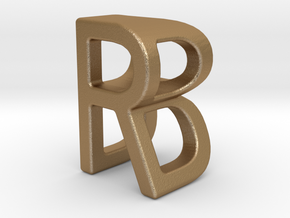 Two way letter pendant - BR RB in Matte Gold Steel