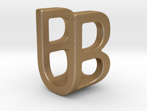 Two way letter pendant - BU UB in Matte Gold Steel