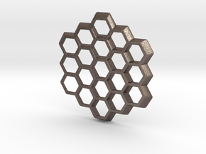 Honeycomb Slice Pendant in Polished Bronzed Silver Steel