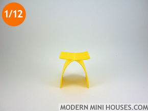 1:12 scale Capelli Stool in Yellow Processed Versatile Plastic
