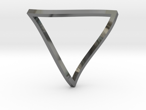 Penrose Triangle - thin in Fine Detail Polished Silver