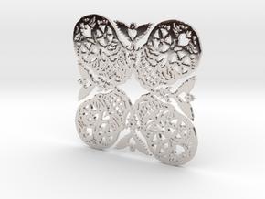 Calaveras Snowflake #2 in Rhodium Plated Brass