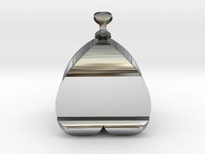 I♥U Shape 2 - View 2 in Fine Detail Polished Silver