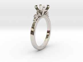 18.35 Mm Clover Diamond Ring 6.5 Mm Fit in Rhodium Plated Brass