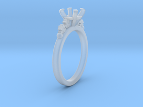 18.35 Mm Clover Diamond Ring 6.5 Mm Fit in Smoothest Fine Detail Plastic
